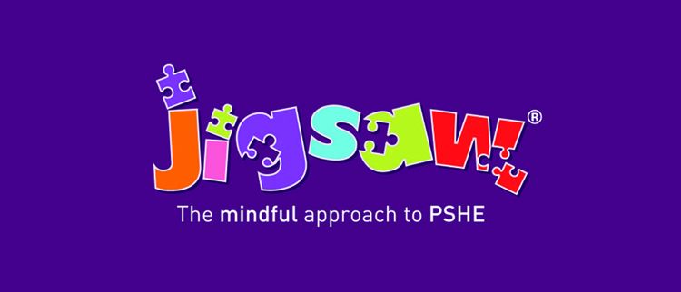 Jigsaw logo with puzzle pieces integrated into the text and the slogan a mindful approach to PSHE