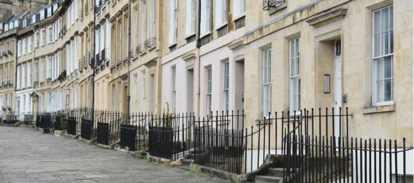 A row of Georgian houses in Bath