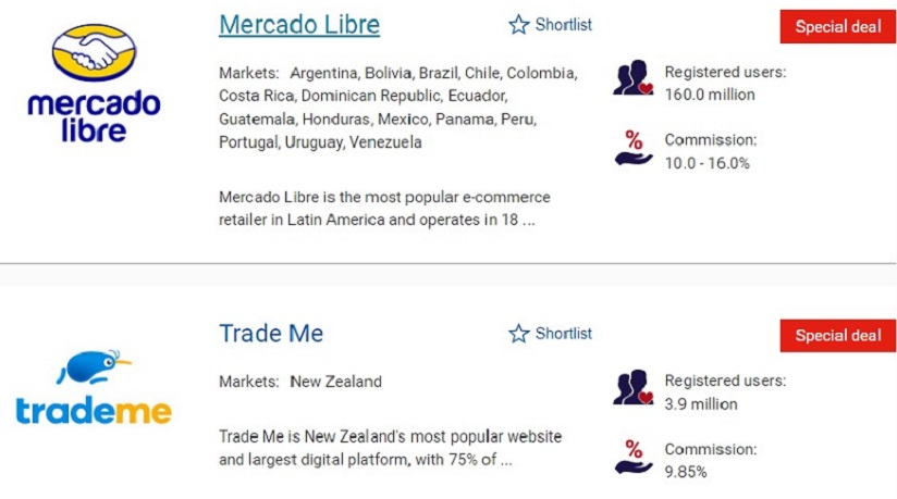 Ecommerce sites on the Exporting is GREAT website