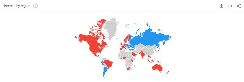 Interest by region on Google trends