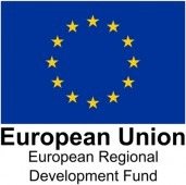 The European Regional Development Fund potrait logo with the European flag on it