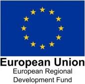 The European Regional Development Fund potrait logo with the European flag on it
