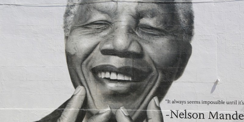 A mural of Nelson Mandela in his latter years