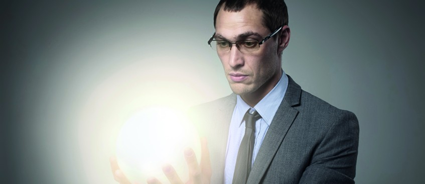 Intellectual property man with ball of light in his cupped hands