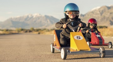 Trade shows and brokerage events with children racing in go-karts