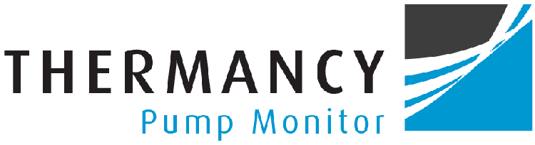 Thermancy logo with the words thermancy pump monitor and a grey, white and blue symbol in a square box