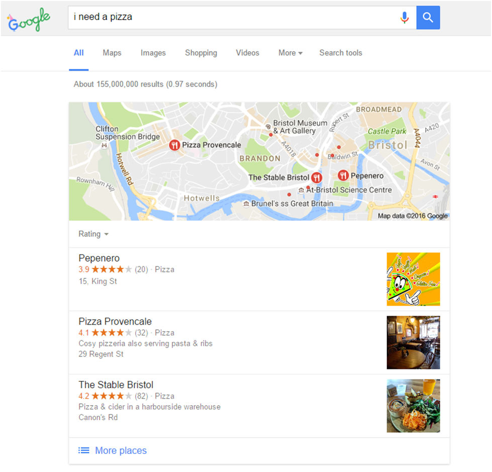 Local voice searches on Google